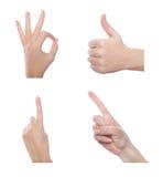 Satz verschiedene Handzeichen lizenzfreie stockfotografie