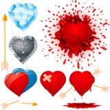 Satz verschiedene Herzen Stockfotografie