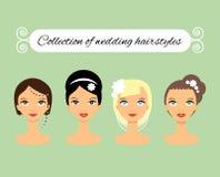 Satz verschiedene Hochzeitsfrisuren für Braut Lizenzfreie Stockfotos
