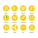 Satz verschiedene Ikonen von cryptocurrency Stockfotos