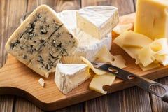 Satz verschiedene Käse Stockfotos
