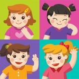 Satz verschiedene Kinder mit verschiedenen Lagen lizenzfreie abbildung