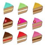 Satz verschiedene Kuchenscheiben Vektor Lizenzfreies Stockbild