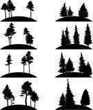 Satz verschiedene Landschaften mit Bäumen stock abbildung