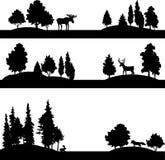 Satz verschiedene Landschaften mit Bäumen und Tieren Stockbilder