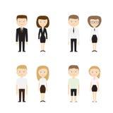 Satz verschiedene Leute auf weißem Hintergrund Stockfotografie