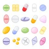 Satz verschiedene lokalisierte, bunte Pillen, Karikaturart-Vektorillustration Lizenzfreie Stockbilder