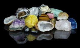 Satz verschiedene Mineralien Stockfotos