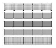 Satz verschiedene modulare Metallzaunschattenbilder Stockbild