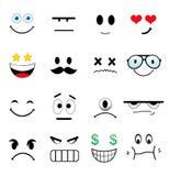 Satz verschiedene nette Gesichter Stockbilder