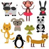 Satz verschiedene nette Tiere Stockfotos