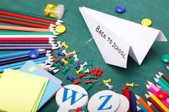 Satz verschiedene Schuleinzelteile, Vektorillustration Stockfotografie