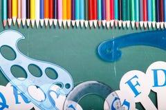 Satz verschiedene Schuleinzelteile, Vektorillustration Lizenzfreies Stockbild