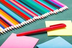 Satz verschiedene Schuleinzelteile, Vektorillustration Stockbilder