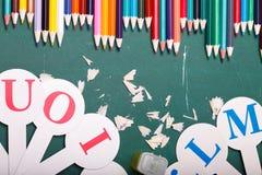 Satz verschiedene Schuleinzelteile, Vektorillustration Stockfoto