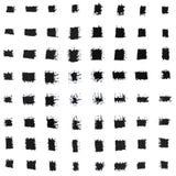 Satz verschiedene schwarze Tintenhandpinselanschläge Stockbild