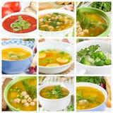 Satz verschiedene Suppen Stockbilder