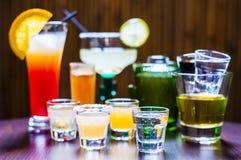 Satz verschiedene Tequila-Cocktails Lizenzfreie Stockfotos