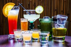 Satz verschiedene Tequila-Cocktails Lizenzfreies Stockbild