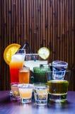 Satz verschiedene Tequila-Cocktails Lizenzfreies Stockfoto