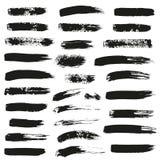 Satz verschiedene Tintenbürstenanschläge Stockfotografie