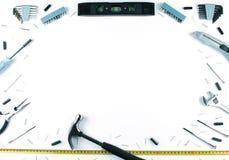 Satz verschiedene Werkzeuge auf weißem Hintergrund Stockfoto