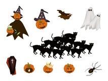 Satz verschiedenen Halloween-Einzelteils und -monsters Stockbild