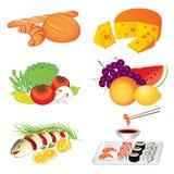 Satz verschiedenes geschmackvolles Lebensmittel des Vektors auf weißem Hintergrund Stockfoto