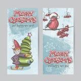 Satz vertikale Fahnen für Weihnachten und das neue Jahr mit einem PU Lizenzfreies Stockbild