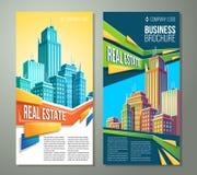 Satz vertikale Karikaturillustrationen, Fahnen, städtische Hintergründe mit Stadt gestalten landschaftlich Lizenzfreies Stockfoto