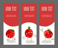 Satz vertikale schmale Fahnen mit Gemüse Stockfotografie