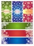 Satz vertikale und horizontale Fahnen für Winterurlaube Lizenzfreies Stockfoto