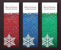 Satz vertikale Weihnachtsfahnen. Stockfoto