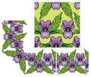 Satz Verzierungen Blumengrenze und nahtloses Muster Stockfotos
