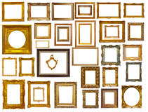 Satz vieler Goldrahmen. Lokalisiert über Weiß Stockfotos