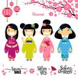 Satz vier asiatischen Mädchens, Kirschblüte, Frühlingsrabatte Elemente für hanami Festival, Kirschblüte-Blütenjahreszeit Vektor Stockfotos