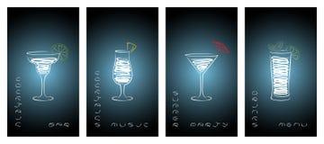 Satz Visitenkarten für Cocktailbar lizenzfreie abbildung