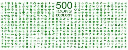 Satz von 500 Ökologieikonen - Vektor Stockfoto
