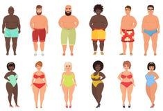 Satz von überladenen, fetten curvy Frauenmädchen und von Strandmann in der Schwimmenbad-Klagenvektorillustration stock abbildung