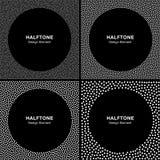 Satz von abstraktem weißem HalbtonDots Frames auf schwarzem Hintergrund Stockfotografie
