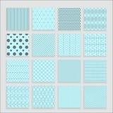 Satz von 16 abstrakten geometrischen blauen Mustern Stockfoto