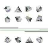 Satz von 12 abstrakten geometrischen Symbolen Geometrischer polygonaler Retro- Hintergrund, Firmenzeichen Stockfoto
