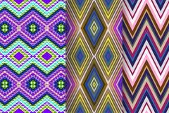 Satz von 3 abstrakten Mustern Lizenzfreie Stockbilder