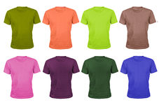 Satz von acht Farbbaumwollsportt-shirts lokalisiert auf Weiß Lizenzfreie Stockfotos