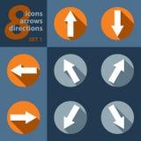 Satz von acht Ikonen mit Pfeilen in allen acht Richtungen Lizenzfreies Stockfoto