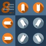 Satz von acht Ikonen mit Pfeilen in allen acht Richtungen Lizenzfreies Stockbild