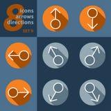 Satz von acht Ikonen mit Pfeilen in allen Richtungen Stockfotografie