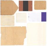 Satz von alten Papierblättern, von Umschlag und von Karte Lizenzfreie Stockfotos