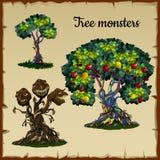 Satz von Bäumen und von Baummonster mit Drachen geht voran vektor abbildung