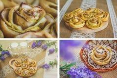 Satz von 4 Bildern mit selbst gemachten Apfelkuchen über Sackleinenhintergrund Stockfotografie